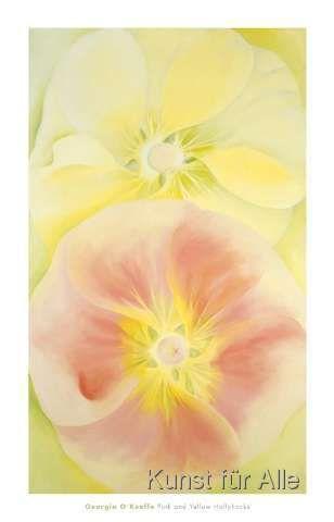 Georgia O'Keeffe - Pink and Yellow Hollyhocks, 1952