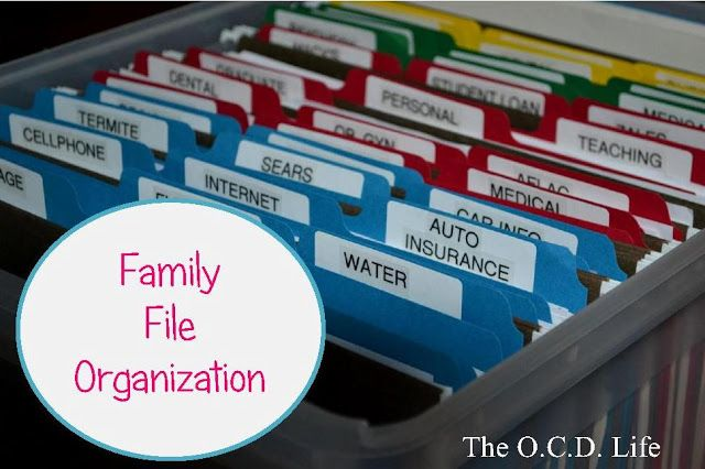 Family File Organization Color Coded For Spouses Kids Family