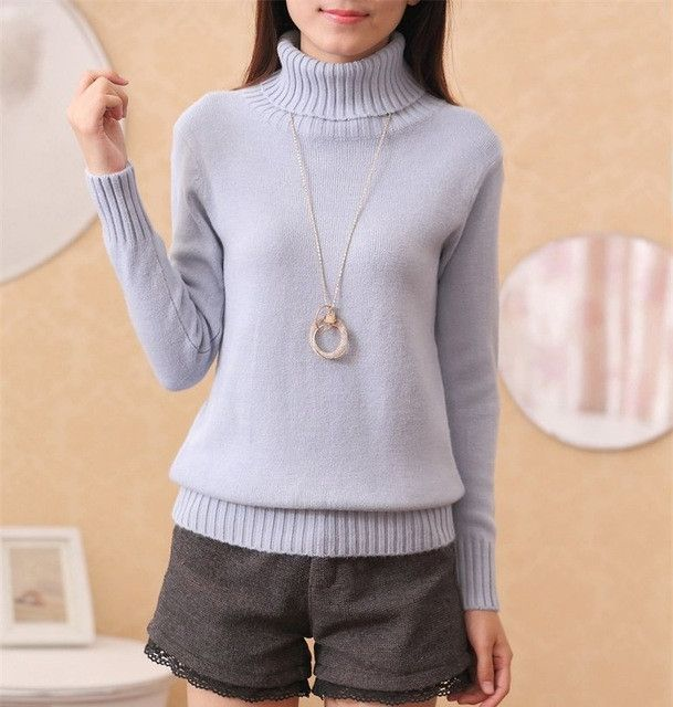 2016 New Winter Women Turtleneck Pullover Sweaters Fashion Solid Cashmere Sweaters and Knitwear Slim Elastic Bottoming Tops