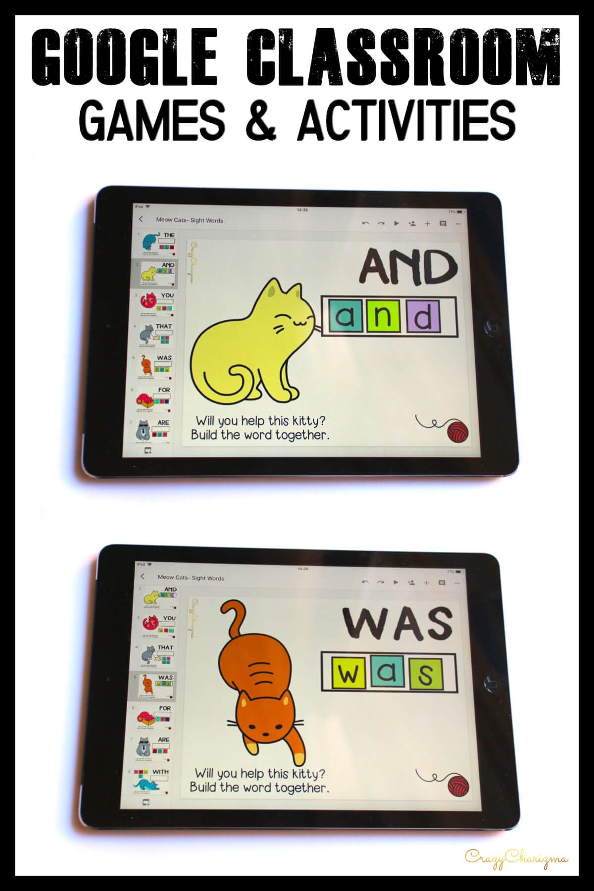 Google Slides Activities Interactive Sight Words Games for