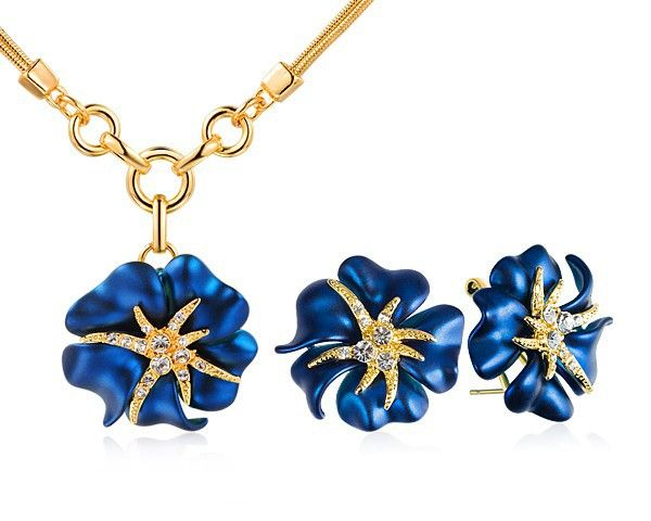 Flower Enamel Women Costume Jewelry Sets Gold Plated Necklace