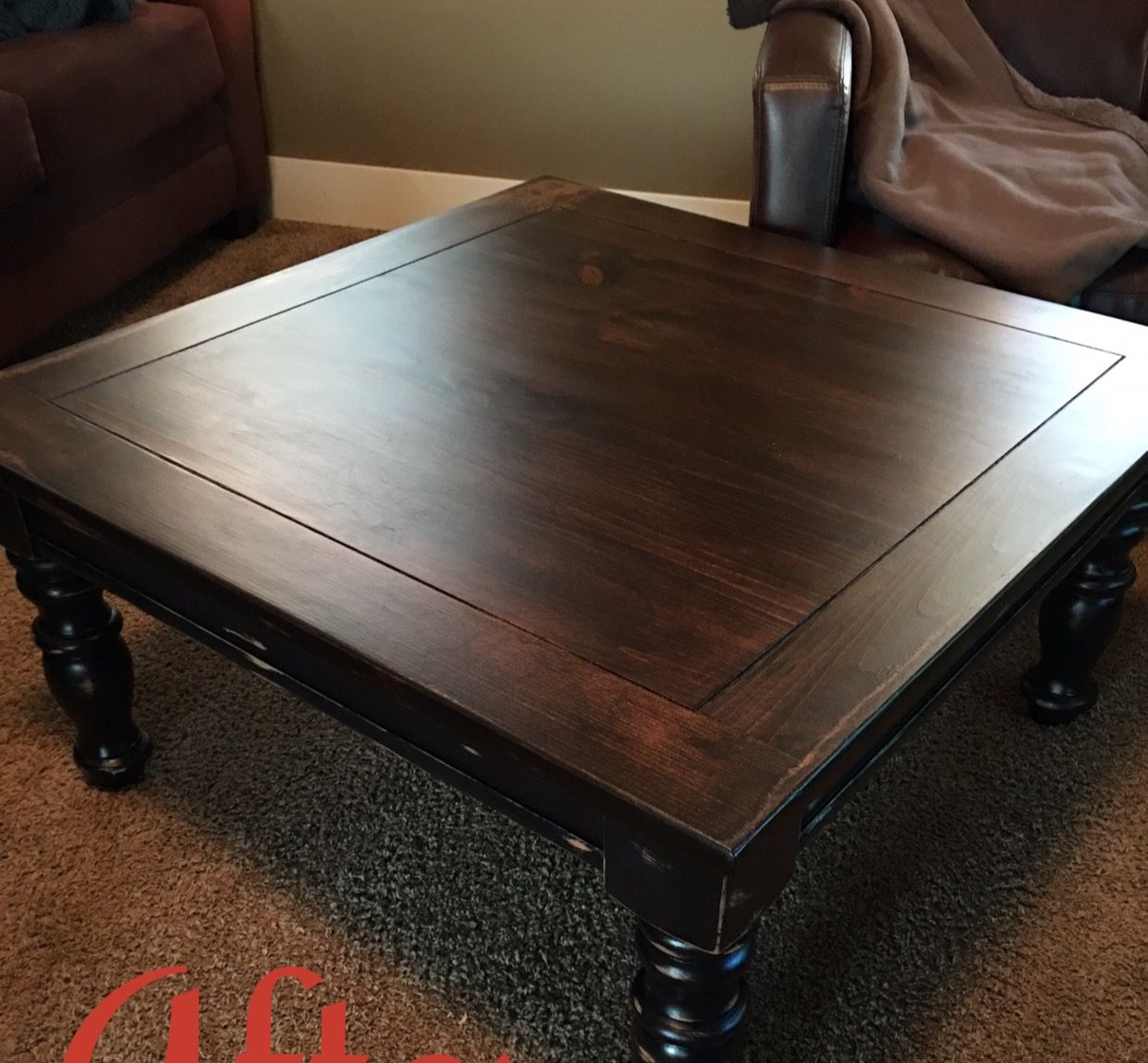 Solid Square Coffee Table Refinished In Expresso Stain And Black Chalk Paint Bottom And Distressed Coffee Table Refinish Coffee Table Redo Coffee Table Square
