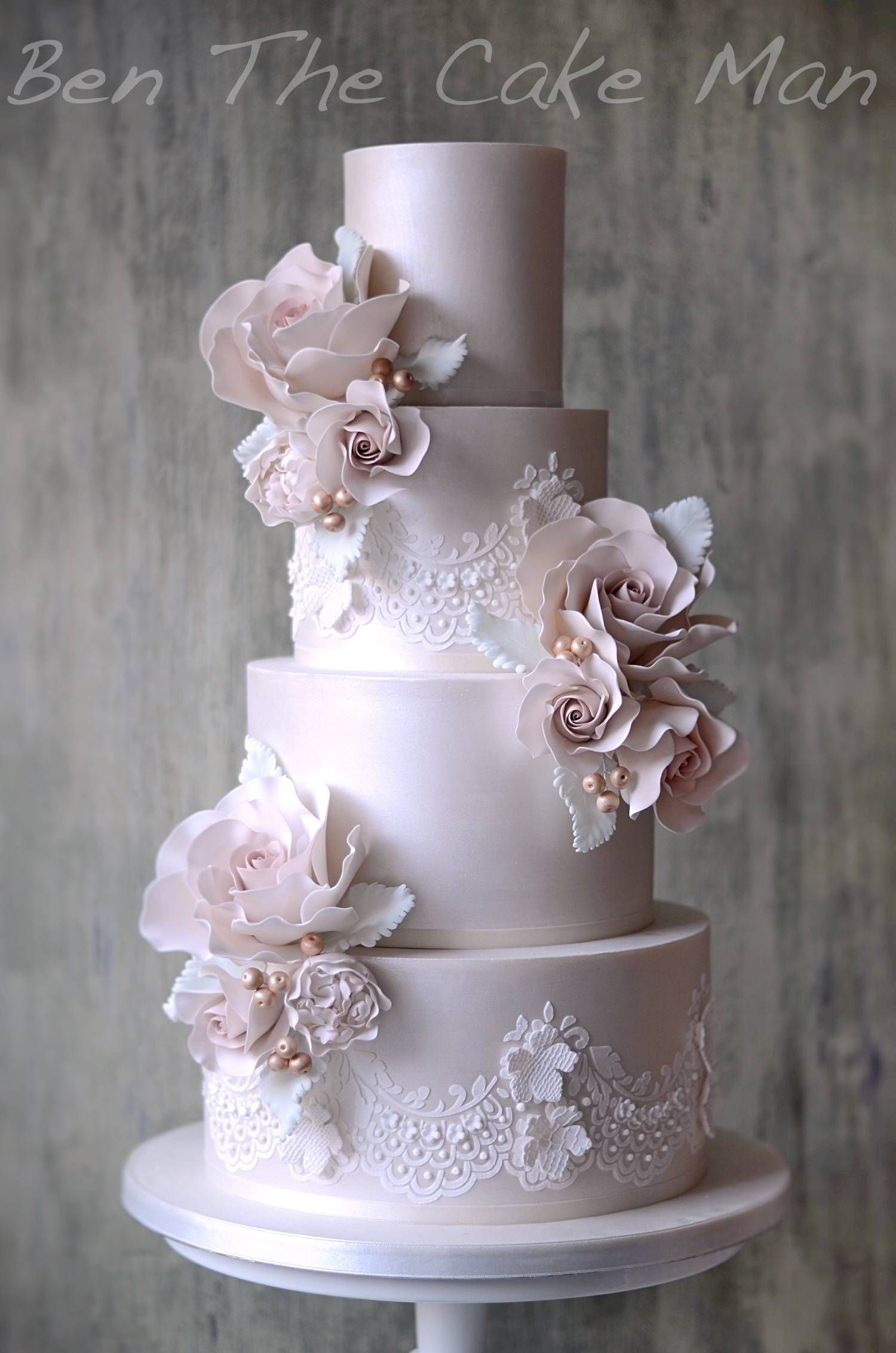 Ruffles Lace Ben The Cake Man Lustre Lace CAKESand - Lace Wedding Cakes