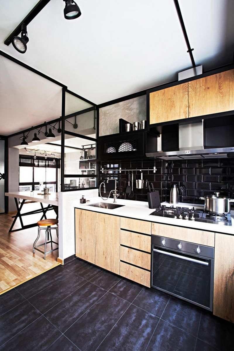 Photo Cuisine Bois Clair stunning cuisine avec carrelage noir images design trends