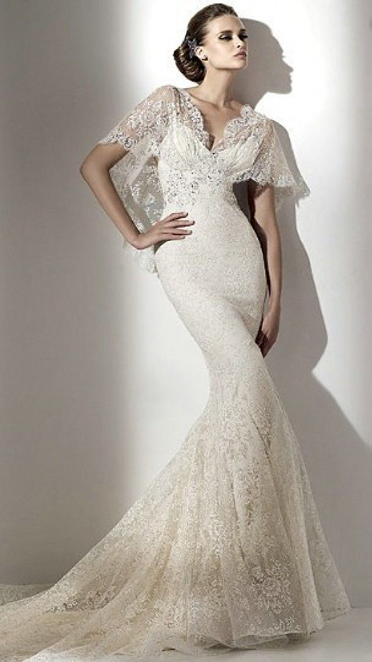 Sweetheart New Lace Wedding Gown With Jacket Bell Sleeve Appliqued Dress 2015 Sexy Mermaid Vestidos