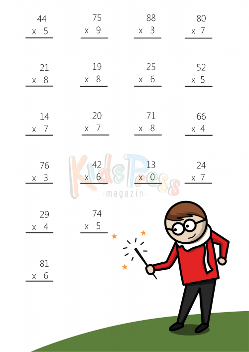 Math Worksheets – 2 Digit by 1 Digit Multiplication #4 ...