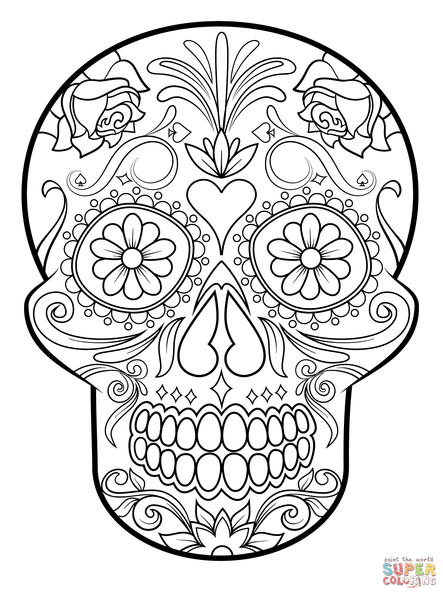 Sugar Skull Super Coloring Coloring Pages Skull Skull Coloring Pages Mandala Coloring Pages Halloween Coloring Pages