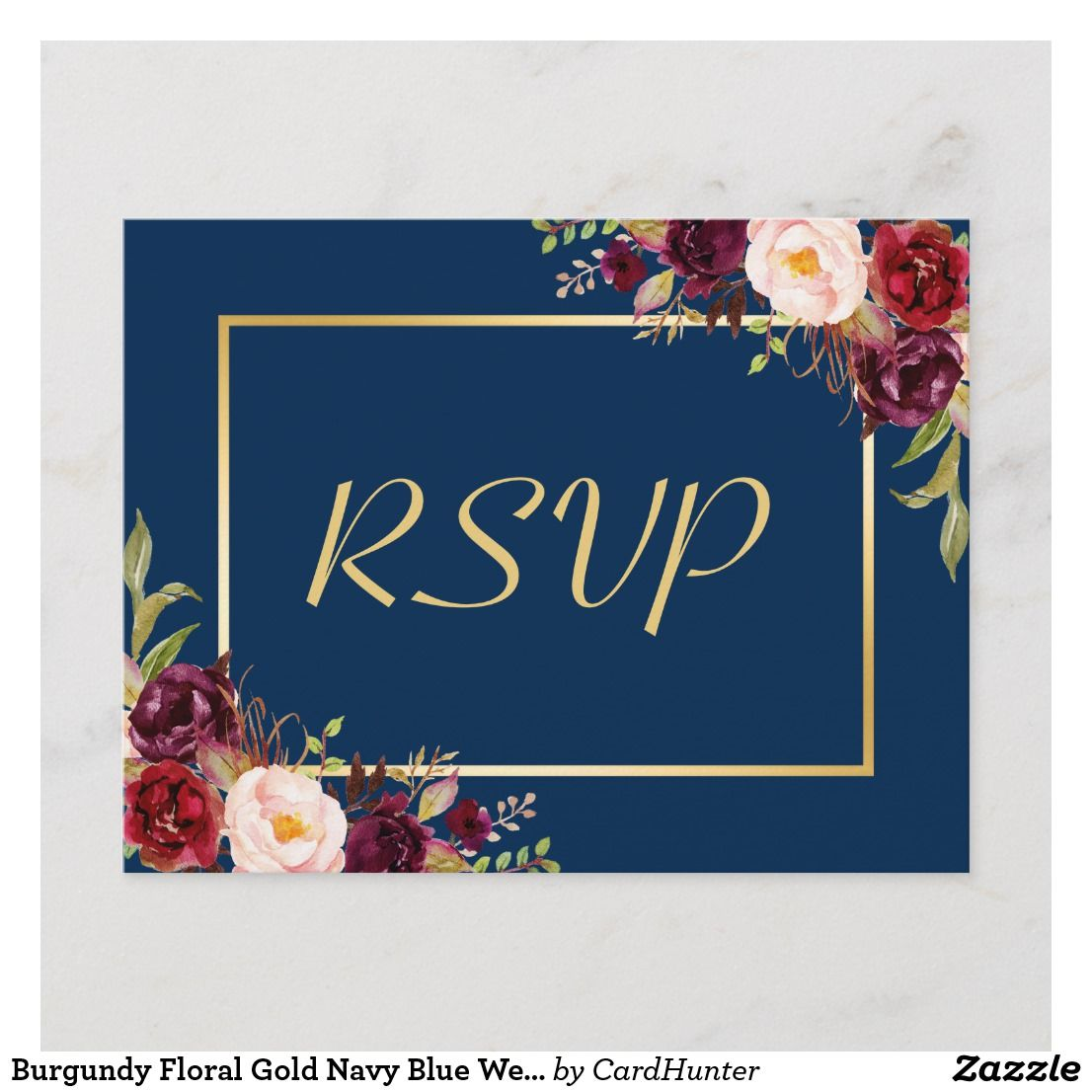 Burgundy Floral Gold Navy Blue Wedding RSVP Reply
