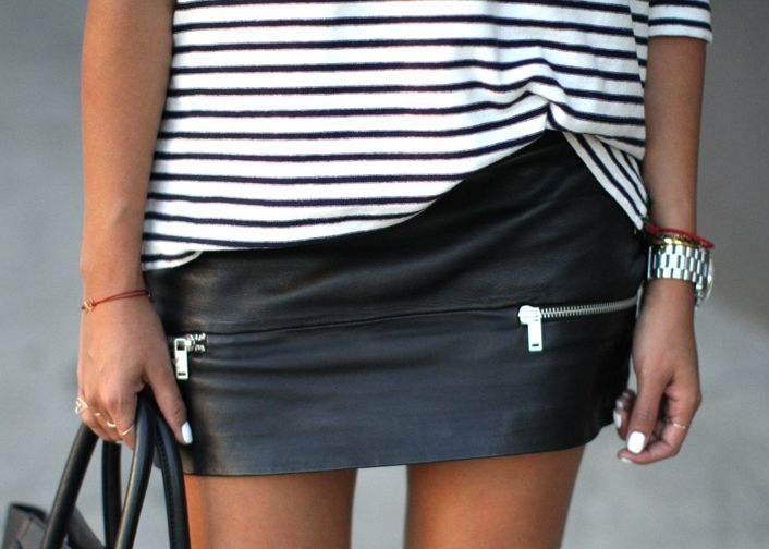 Sincerely Jules, Striped shirt, leather skirt