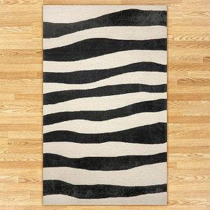 Wavy Stripes Indoor-Outdoor Rug, Black | World Market 8x10 $559