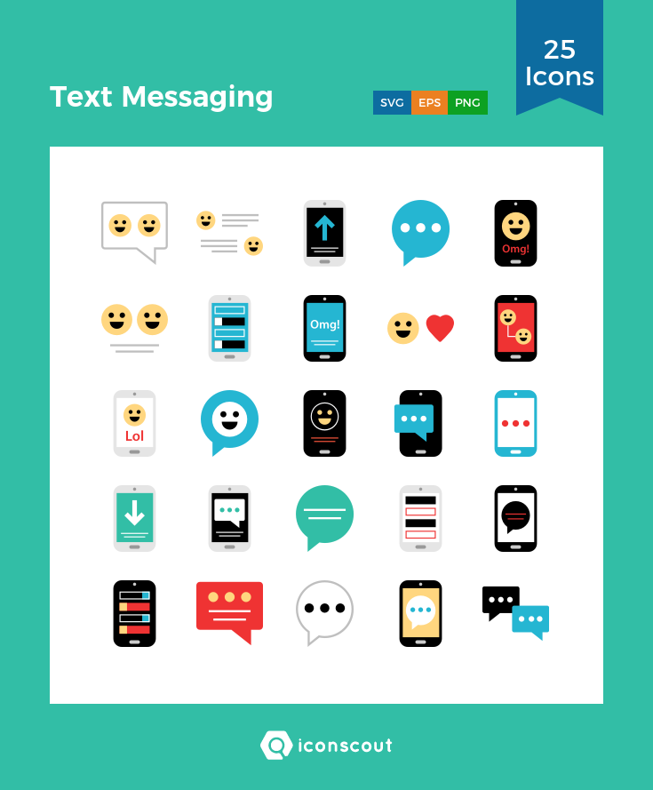 Text Messaging Icon Pack - 25 Flat Icons | Network