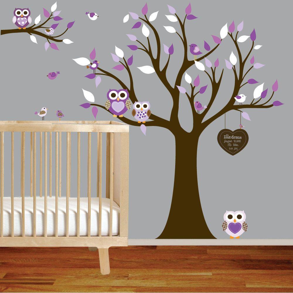 Owl themed nursery vinyl wall decal stickers owl tree set nursery