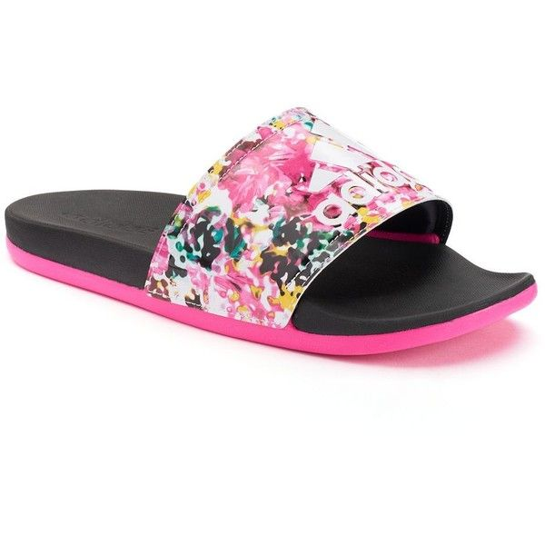 fc7cca210 Adidas Adilette SC+ Women's Floral Slide Sandals, Size: 6, Black ($31) ❤  liked on Polyvore featuring shoes, sandals, black, black slip-on shoes, ...