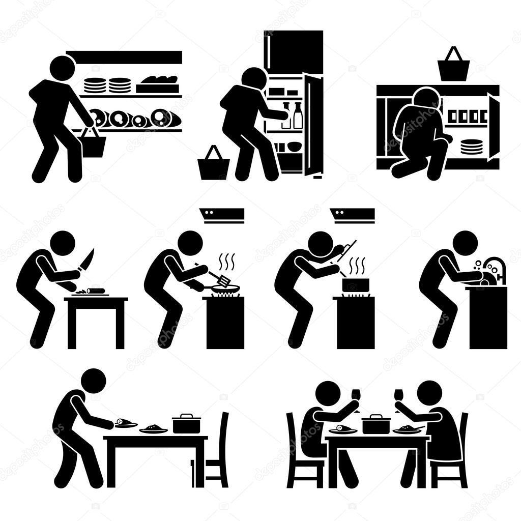 家で料理や食品ピクトグラムを準備 ストックベクター C Leremy