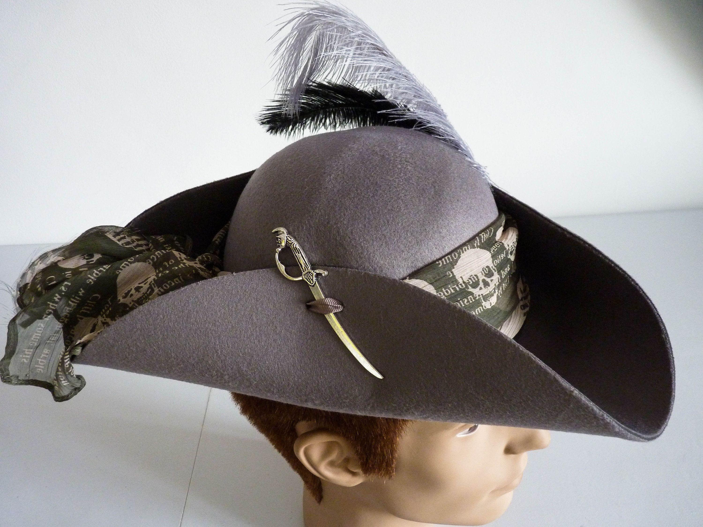 Unisex Pirate Tricorn Hat Jack Sparrow Fantasy Captain Hook Etsy Pirate Fashion Hats Pirate Captain Hat