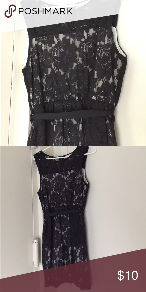 Black Lace Dress Nude Dress With Black Lace Overlay Waist Tie