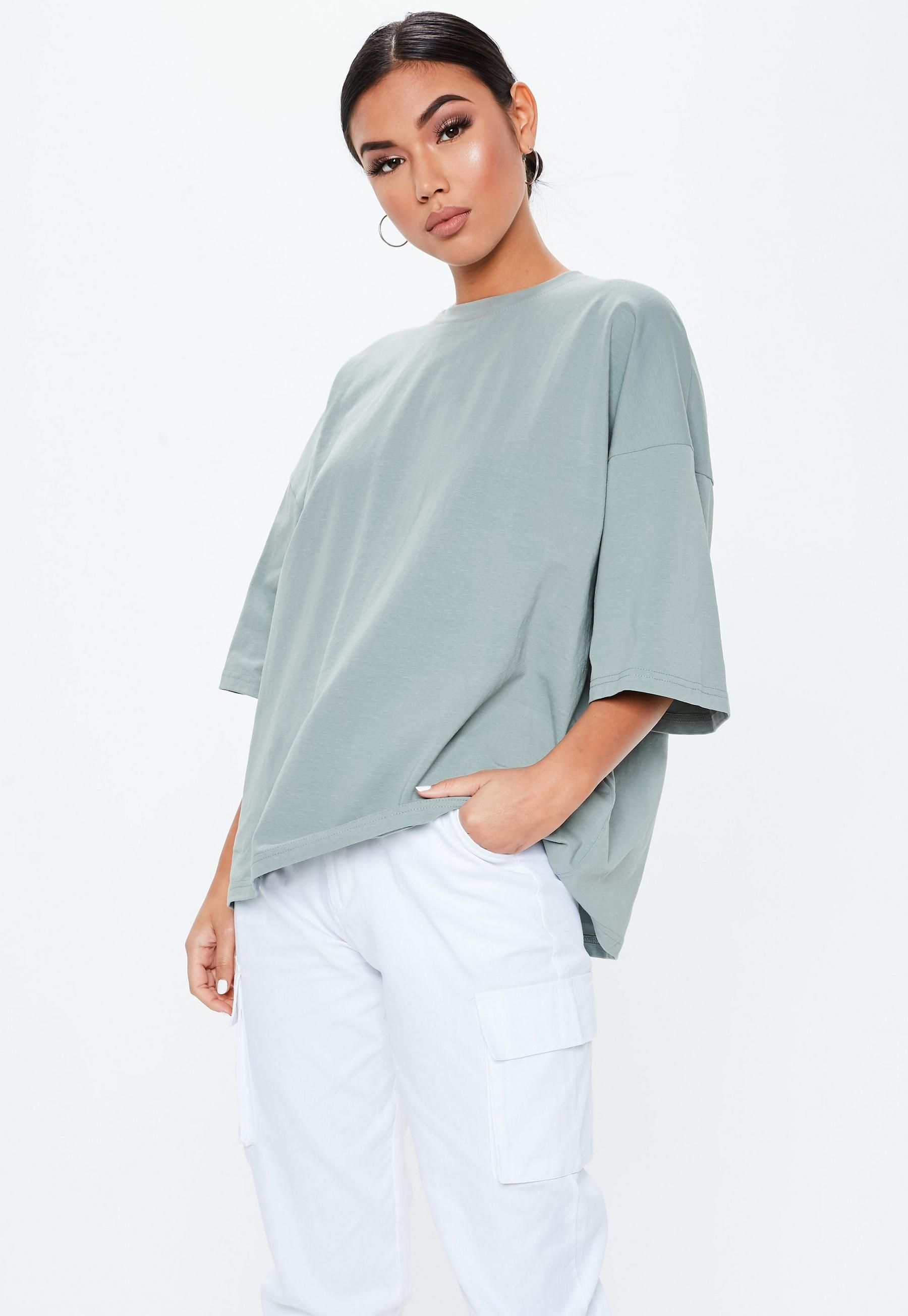 1f0be0a1b Grey Drop Shoulder Oversized T Shirt   Missguided   MISSGUIDED in ...