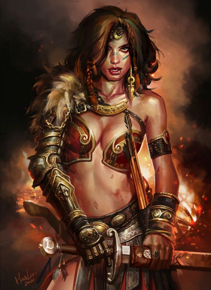 art Female women warriors fantasy