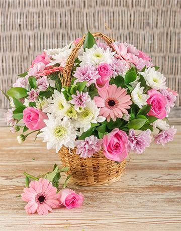 Mix pink flower basket products pinterest flower basket buy mixed pink basket display online netflorist mightylinksfo