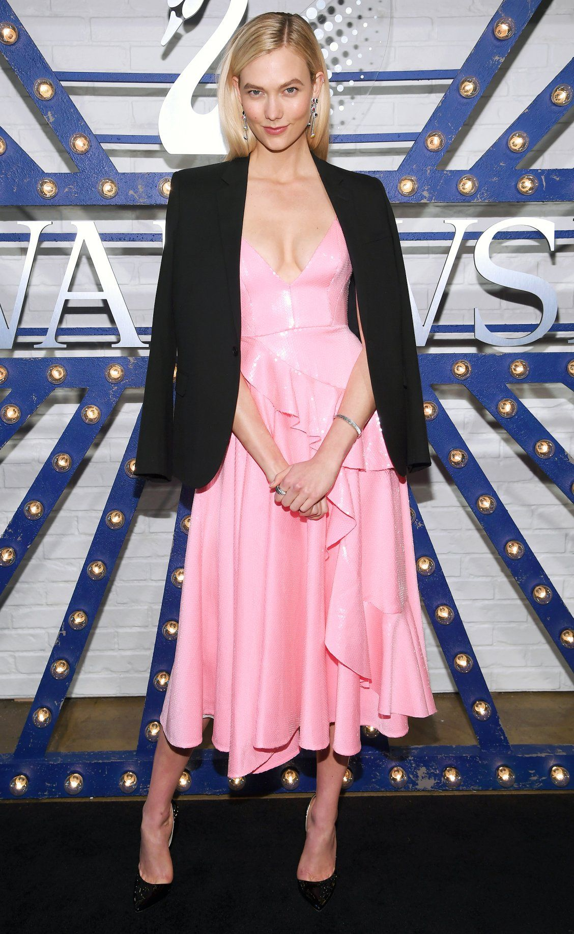 304f8ae29bc Karlie Kloss  Feminine Baby Pink Dress - and More Celebrity Outfits ...