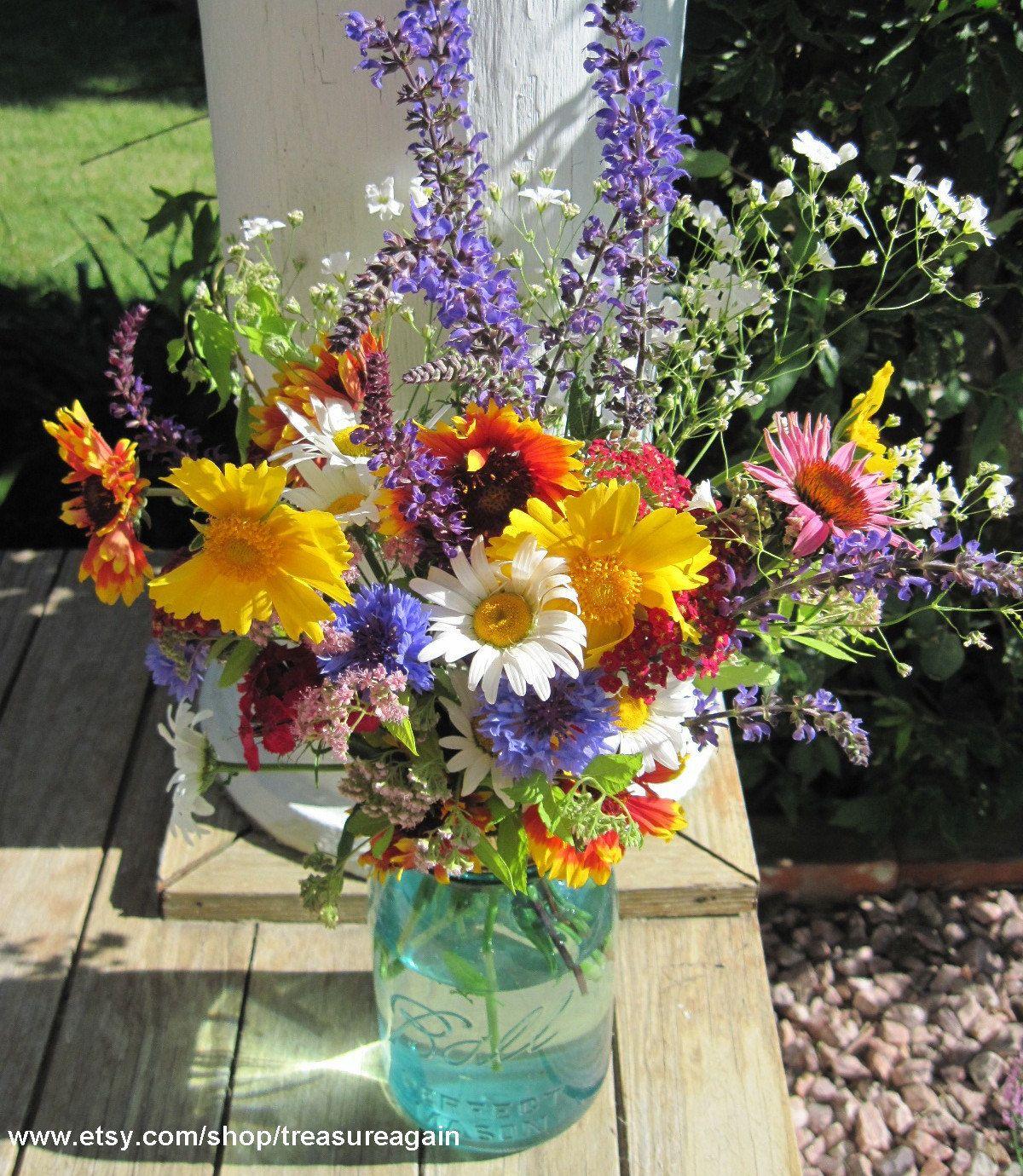 Mason jar vase flower frog lid antique blue jars