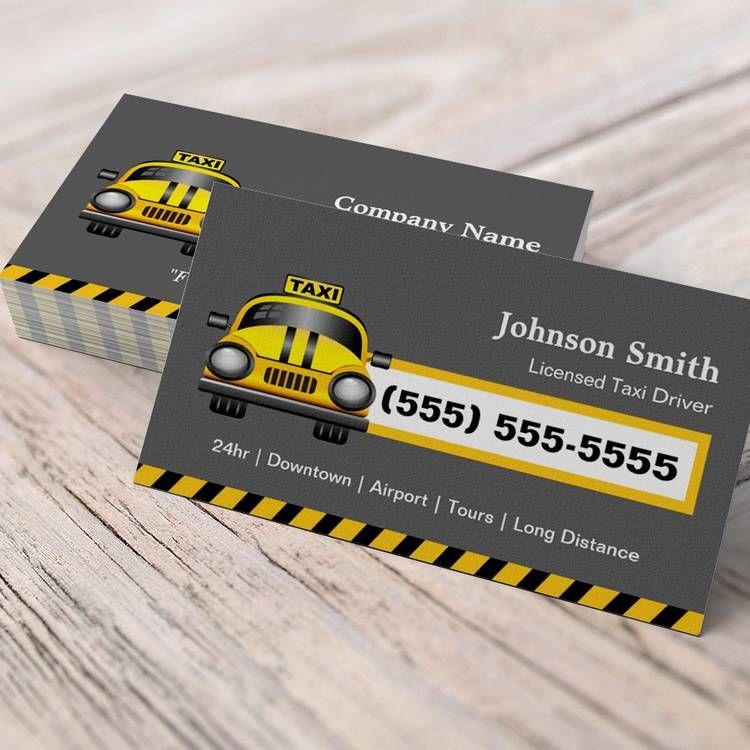 Urban Taxi Driver Chauffeur - Yellow Cap Business Card   Taxi driver ...