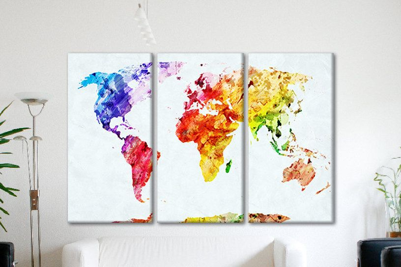 World canvas map world map watercolors canvas wall map personalized world canvas map world map watercolors canvas wall map personalized extra large stretched canvas wall art gumiabroncs Gallery