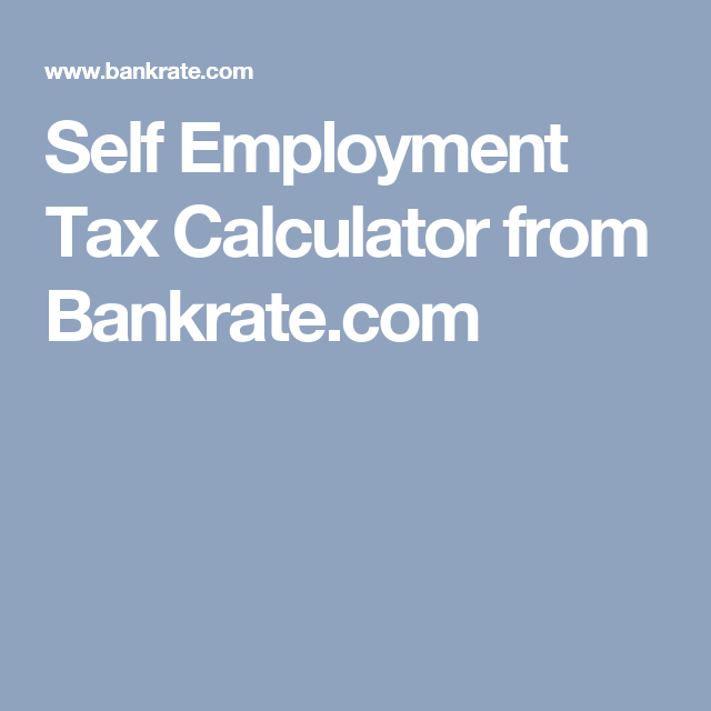 Self Employment Tax Calculator From