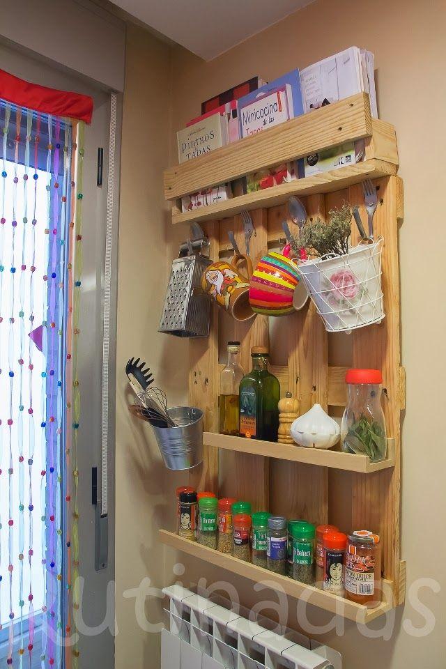 Diy estante para especias hecho con palets - Estantes para plantas ...