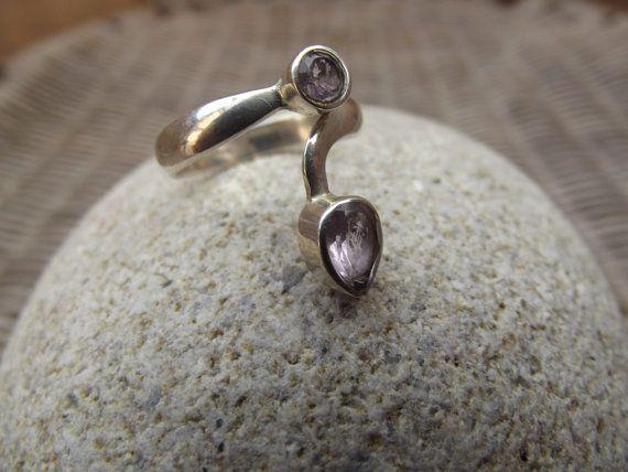 anello in argento 925 con 2 pietre di ametista di silveringjewelry