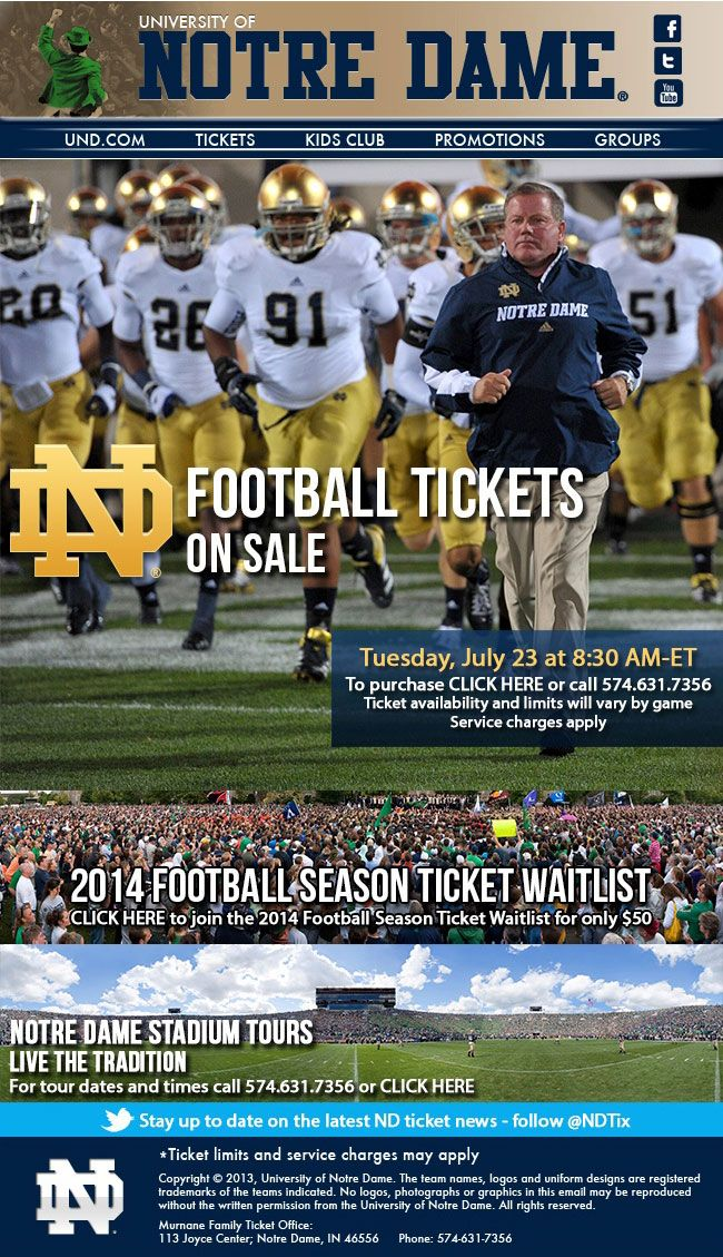 Notre Dame Football Single Tickets Public Onsale And 2014