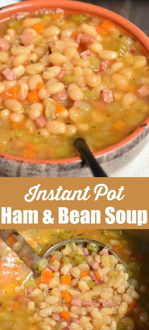 Ham and Bean Soup made in an Instant Pot. This soup is made with leftover ham, navy beans, and a simple combination of veggies and spices. #instantpotrecipes