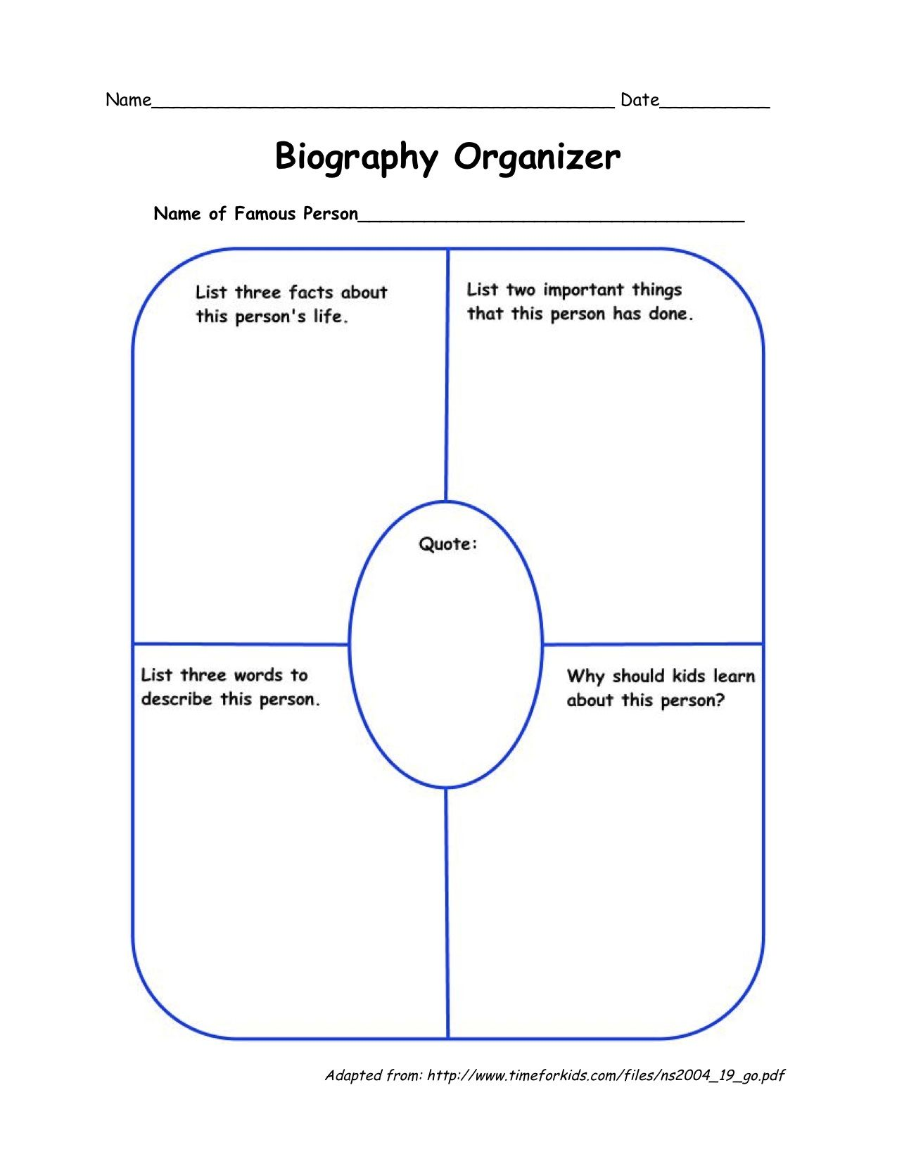 biography organizer language arts trees research families