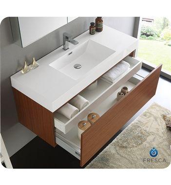 Fresca Mezzo 48 Teak Wall Hung Modern Bathroom Vanity With