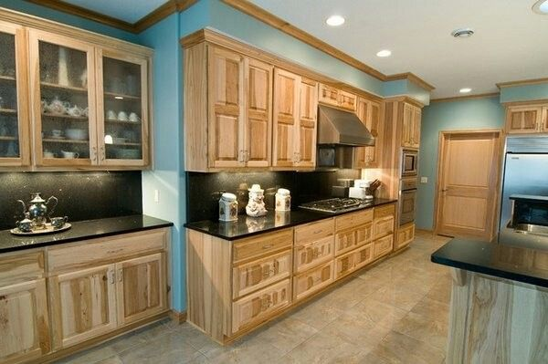 Black Granite Hickory Cabinets Blue Walls With Images Hickory Kitchen Cabinets Hickory