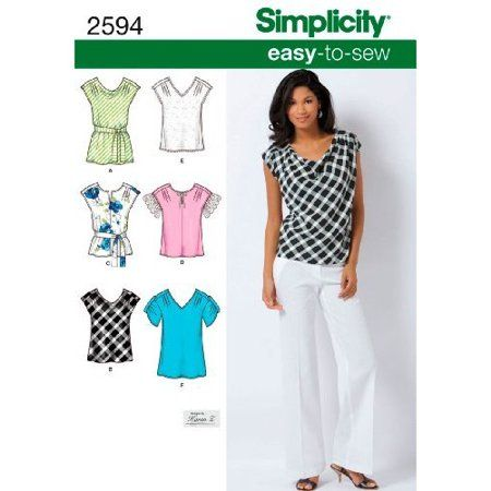 Simplicity Sewing Pattern 2594 Misses Tops, K5 (8-