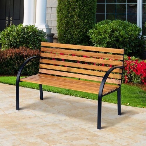 Fantastic Nico Wooden And Steel Bench Lynton Garden Products In 2019 Bralicious Painted Fabric Chair Ideas Braliciousco