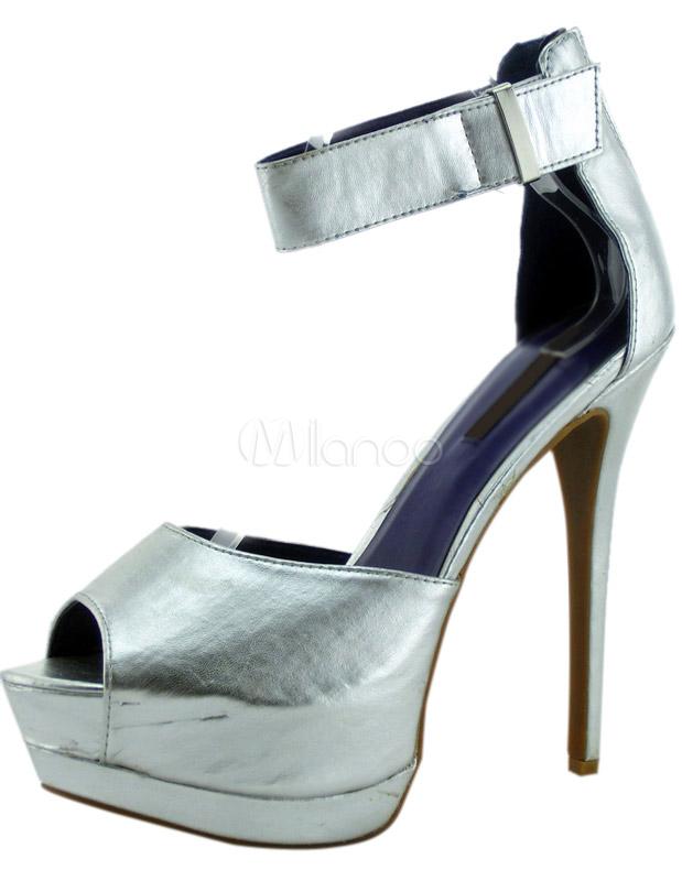 bc5bdcdfad11 Milanoo.com Ltd  Dress Sandals  Sexy  Silver  Stiletto  Heel ...