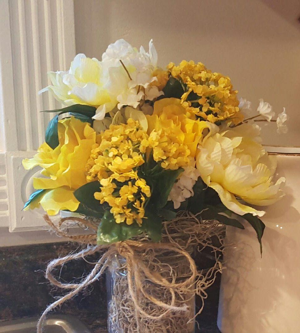 Yellow Flowersyellow Flower Arrangementartificial Flowerssilk