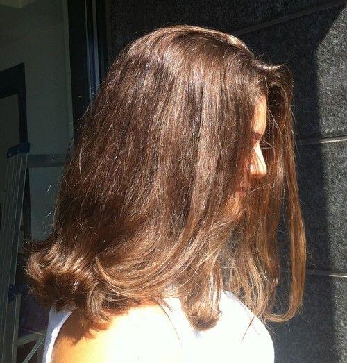 Brown naturally wavy hair - lob - pitkä polkkatukka luonnontaipuisille  ruskeilla hiuksille