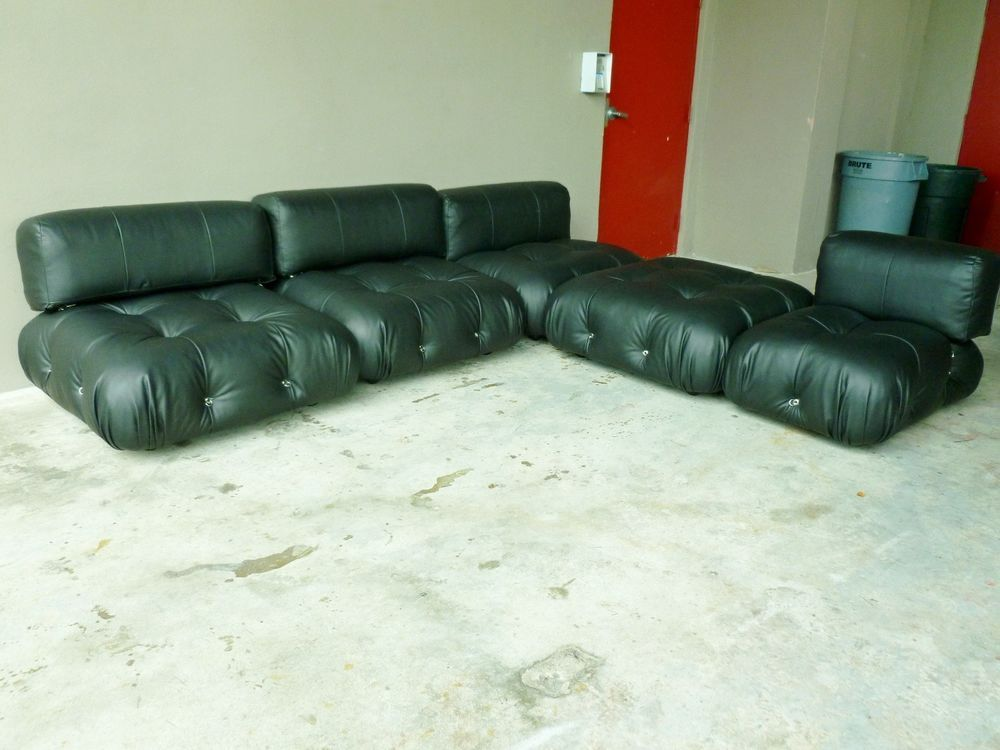 70 S Italian B Italia Mario Bellini Camaleonda Modular Black Leather Sofa P Mcm Bbitalia
