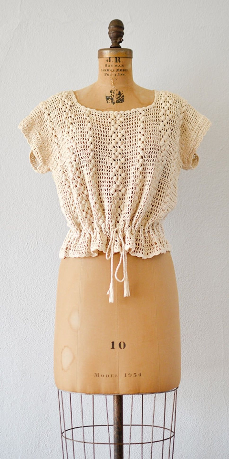 Vintage s crochet top baradine heights top from adored vintage