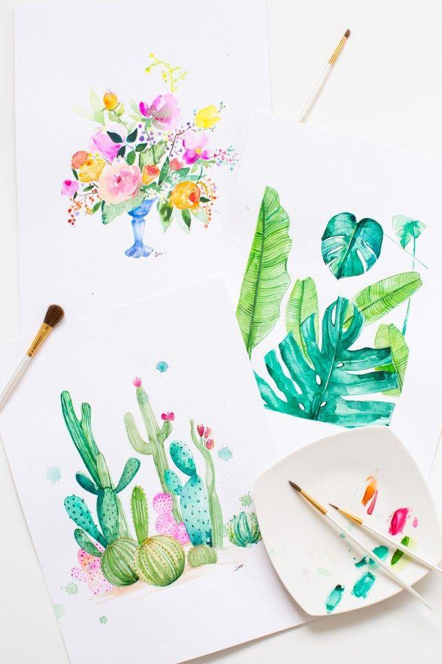 Diy Watercolor Printable Wall Art Sugar Cloth Decor