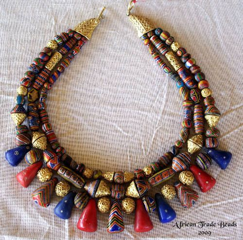 A Beautiful Strand Of Antique Kiffa And Gold Beads From A