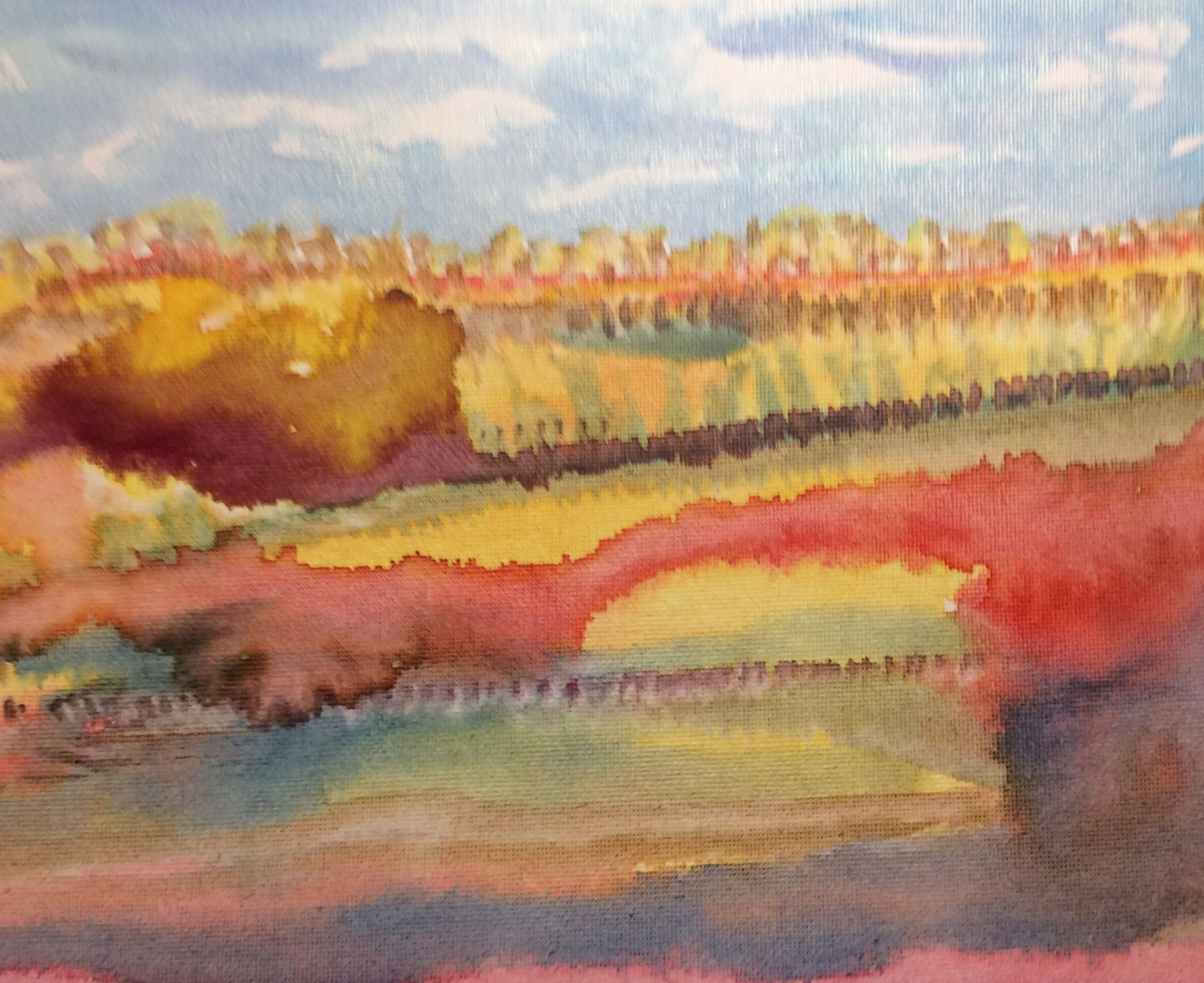 Watercolor Landscape Painting On Canvas Board 8 X 10 Inches Quiet