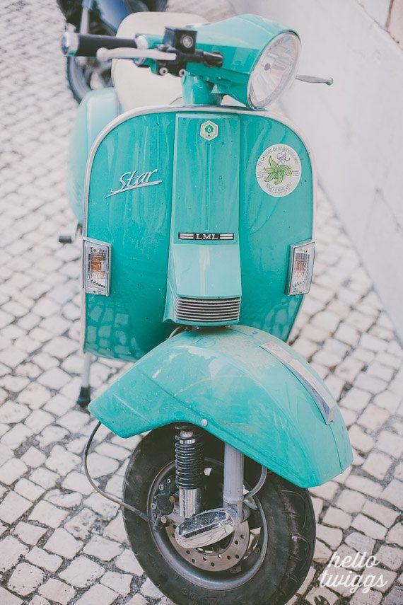 Vespa Photography, Vintage Style, Vespa Print, Pastel, Feminine, Mint Print, Mint Vespa, Retro Vespa Photograph, Green, Feminine - For me