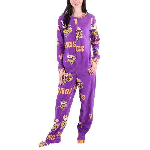 NFL Minnesota Vikings Women s Ramble Union Suit Footed Pajamas ... 225cbdece
