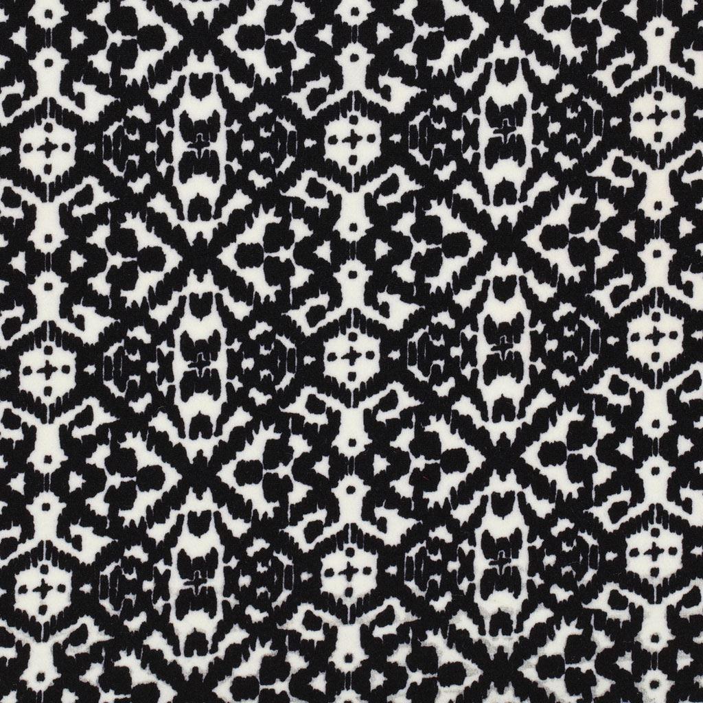 tissu jersey imprime wax noir blanc maille interlock. Black Bedroom Furniture Sets. Home Design Ideas