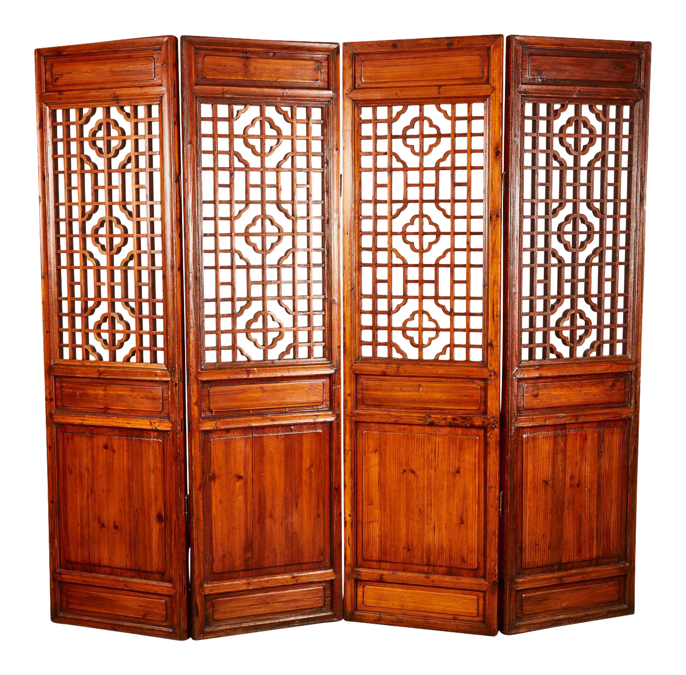 Set of th century chinese geometrically carved panels on decaso