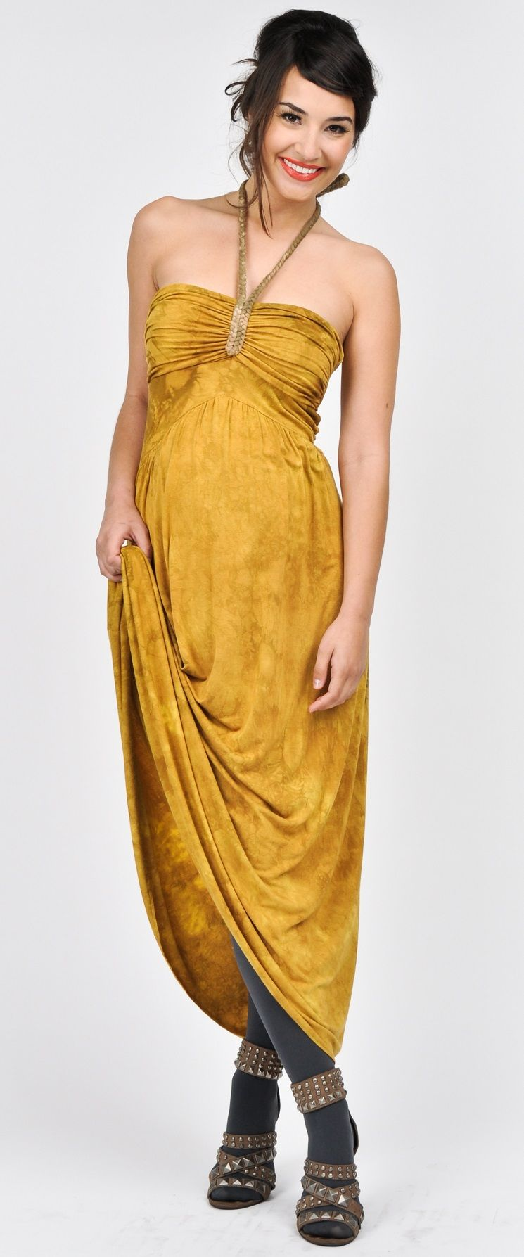 This golden halter maternity dress looks just as good post this golden halter maternity dress looks just as good post pregnancy as it ombrellifo Image collections